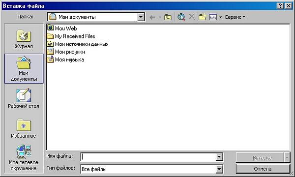 Окно Вставка файла